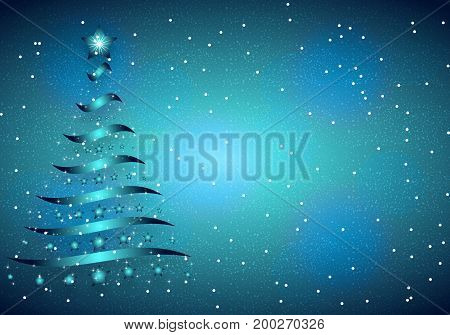 Christmas blue background, vector art illustration Christmas tree.