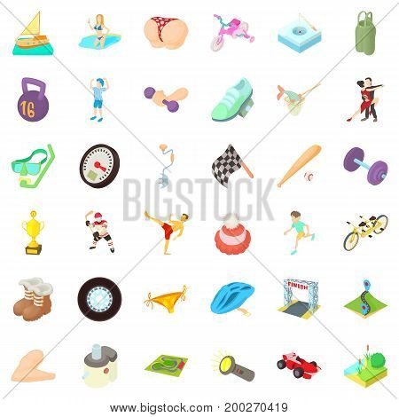 Activity woman icons set. Cartoon style of 36 activity woman vector icons for web isolated on white background