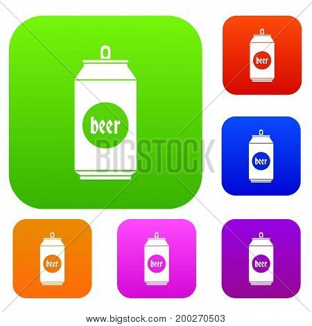 Beer in aluminum cans set icon in different colors isolated vector illustration. Premium collection