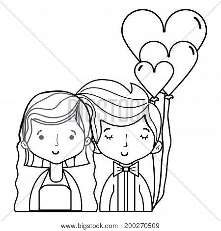 line beauty couple married with hairstyle design vector illustration