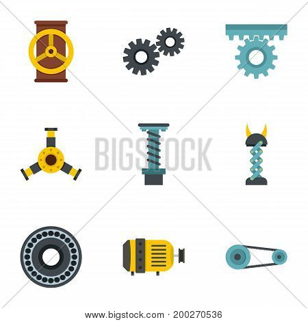 Machinery gear icon set. Flat style set of 9 machinery gear vector icons for web isolated on white background