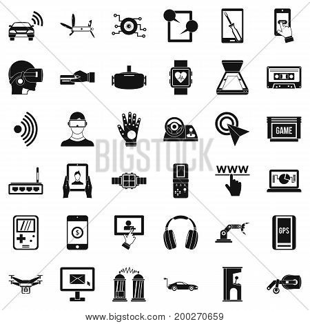 Screen adjustment icons set. Simple style of 36 screen adjustment vector icons for web isolated on white background
