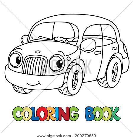 Car coloring book for kids. Small funny vector cute vehicle with eyes and mouth. Coloring book. Children vector illustration