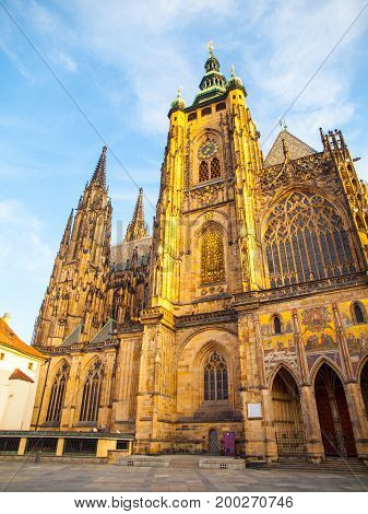 Sunny morning at Saint Vitus Cathedral, Prague Castle, Prague, Czech Republic.