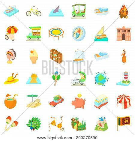 Big adventure icons set. Cartoon style of 36 big adventure vector icons for web isolated on white background