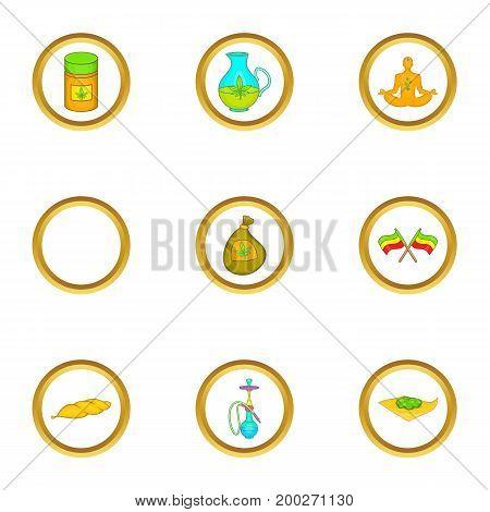 Hashish icon set. Cartoon style set of 9 hashish vector icons for web isolated on white background