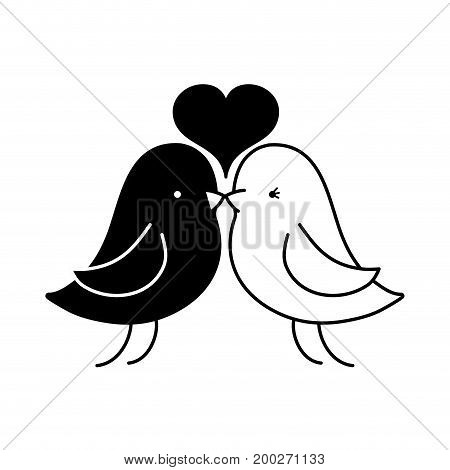 contour bird dove lover with heart design vector illustration
