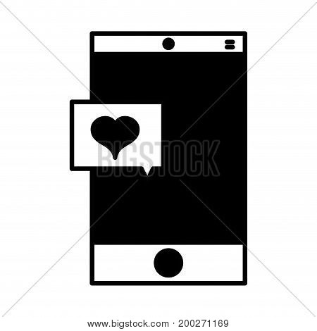 contour smartphone technology with heart chat bubble vector illustration