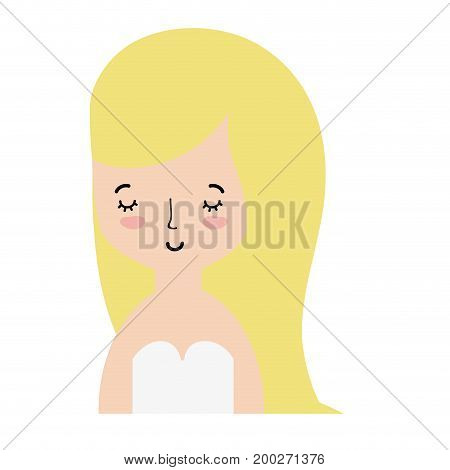 beauty woman with hairstyle desiand and blouse vetor illustration