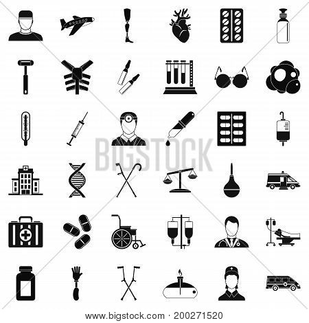 Fast aid icons set. Simple style of 36 fast aid vector icons for web isolated on white background