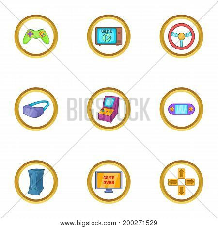 Computer game icon set. Cartoon style set of 9 computer game vector icons for web isolated on white background