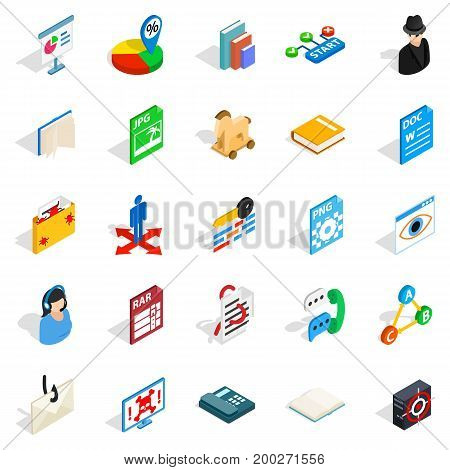 Online learning icons set. Isometric set of 25 online learning vector icons for web isolated on white background