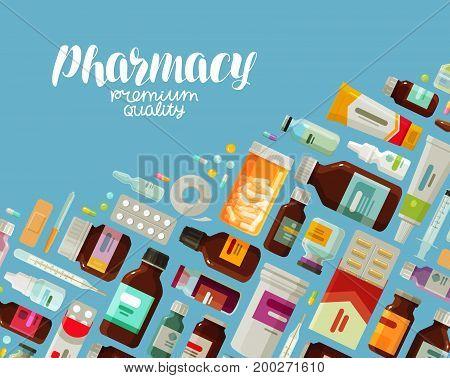 Pharmacy, pharmacology banner. Medicine, bottles and pills concept Vector