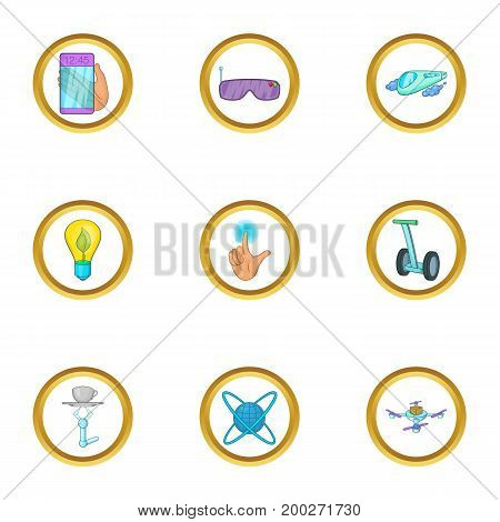Future gadget icon set. Cartoon style set of 9 future gadget vector icons for web isolated on white background