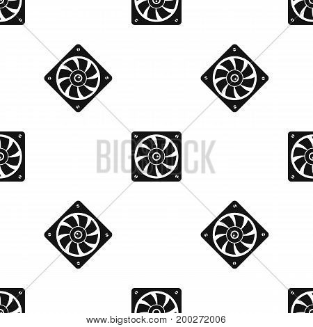Computer fan pattern repeat seamless in black color for any design. Vector geometric illustration