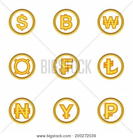 Types of money icon set. Cartoon style set of 9 types of money vector icons for web isolated on white background