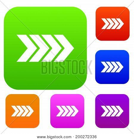 Striped arrow set icon in different colors isolated vector illustration. Premium collection