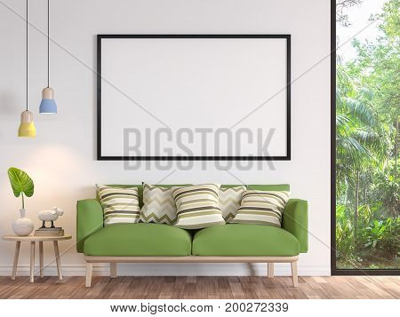 Modern white living room with blank frame 3d render image.There are wooden floor .There are large window overlooking to the garden and nature and furnished with green fabric sofa
