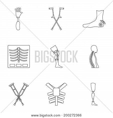 Traumatology and orthopedic icon set. Outline style set of 9 traumatology and orthopedic vector icons for web isolated on white background