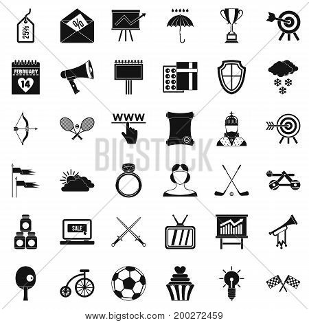 Flying arrow rrow icons set. Simple style of 36 flying arrow vector icons for web isolated on white background