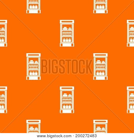 Products in the supermarket refrigerator pattern repeat seamless in orange color for any design. Vector geometric illustration