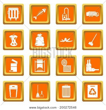 Garbage thing icons set in orange color isolated vector illustration for web and any design