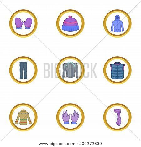Winter wear icons set. Cartoon illustration of 9 winter wear vector icons for web design
