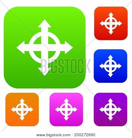Arrows target set icon in different colors isolated vector illustration. Premium collection