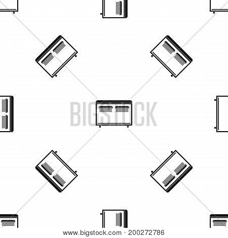 Home equipment for heating pattern repeat seamless in black color for any design. Vector geometric illustration
