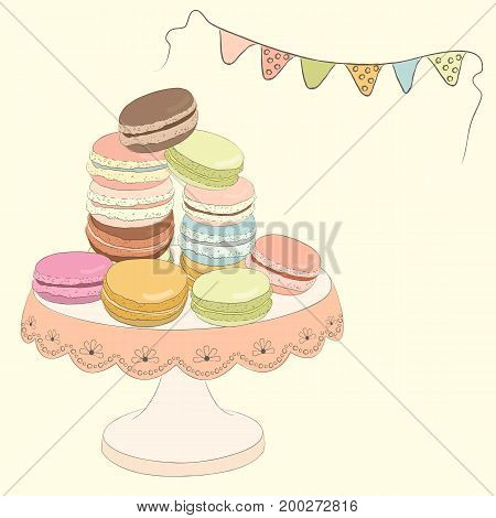 Set of colorful doodle macaroons on plate.