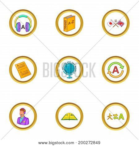 Language icons set. Cartoon illustration of 9 language vector icons for web design