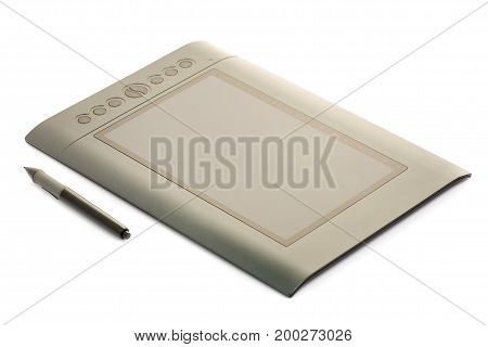 Graphic tablet black graphics on white background isolation