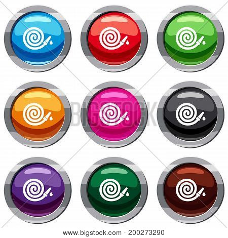 Garden hose set icon isolated on white. 9 icon collection vector illustration