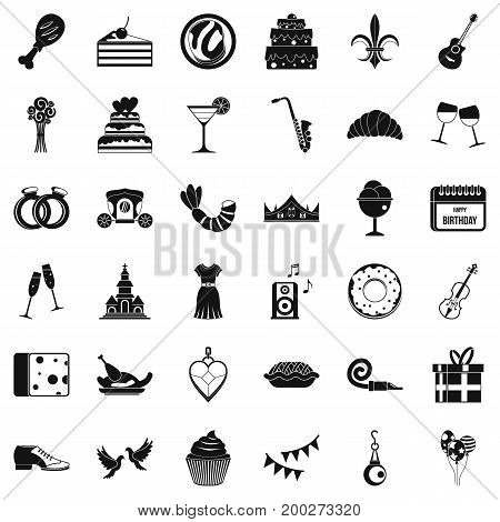 Love banquet icons set. Simple style of 36 love banquet vector icons for web isolated on white background