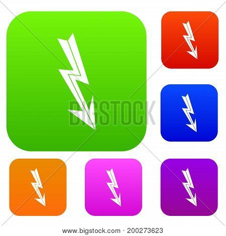 Arrow lightning set icon in different colors isolated vector illustration. Premium collection