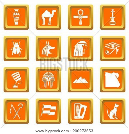 Egypt travel items icons set in orange color isolated vector illustration for web and any design