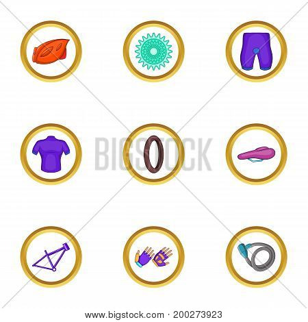 Bike icons set. Cartoon illustration of 9 bike vector icons for web design