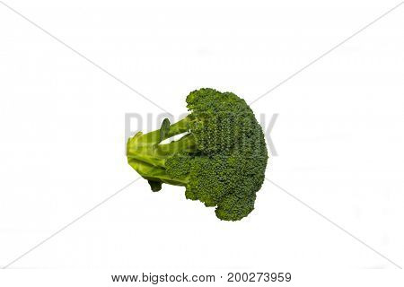 a brocolli floret isolated on white background