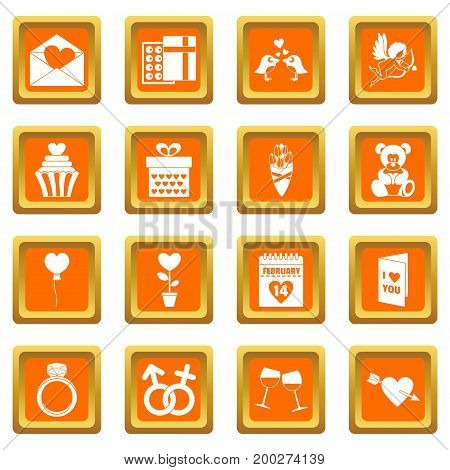 Saint Valentine icoins set. Simple illustration of 16 Saint Valentine vector icons set in orange color isolated vector illustration for web and any design