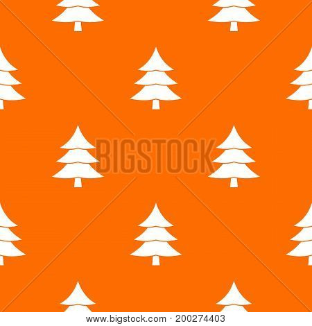 Fir tree pattern repeat seamless in orange color for any design. Vector geometric illustration