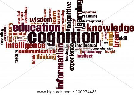 Cognition word cloud concept. Vector illustration on white