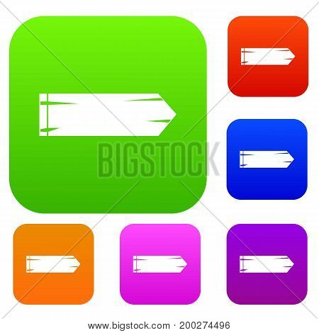 Thick arrow set icon in different colors isolated vector illustration. Premium collection