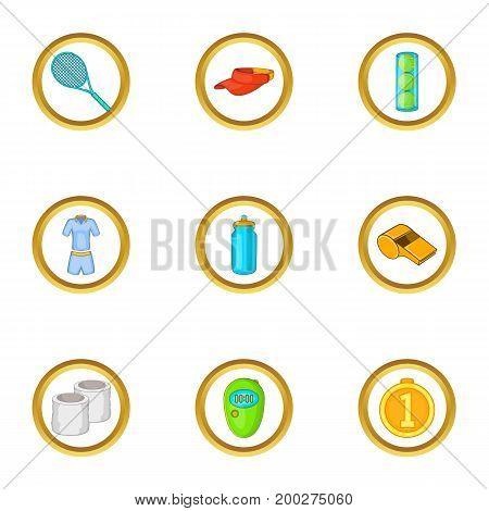 Tennis equipment icons set. Cartoon illustration of 9 tennis equipment vector icons for web design