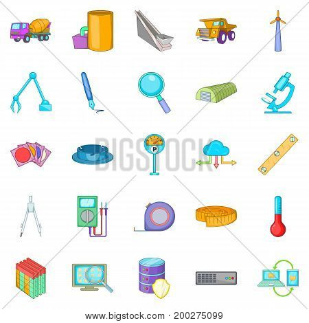 Engineering icons set. Cartoon set of 25 engineering vector icons for web isolated on white background