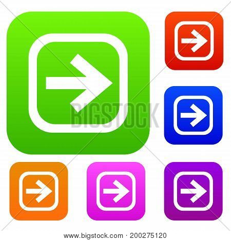 Arrow in square set icon in different colors isolated vector illustration. Premium collection