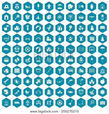 100 childhood icons set in sapphirine hexagon isolated vector illustration