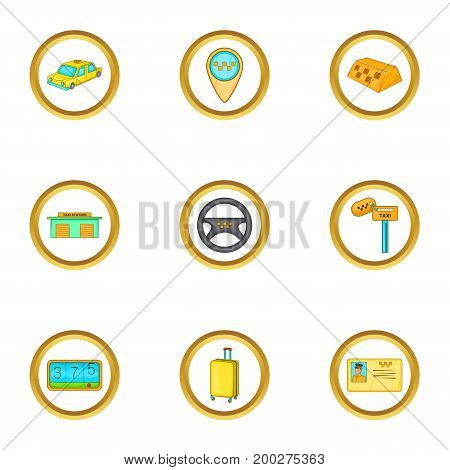 Taxi cab icons set. Cartoon illustration of 9 taxi cab vector icons for web design