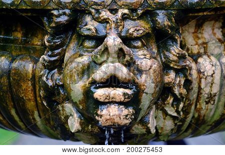 Wet stone face on an old garden fountain