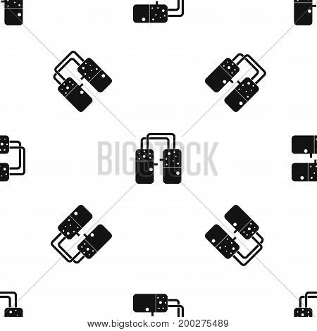 Containers connected with tubes pattern repeat seamless in black color for any design. Vector geometric illustration
