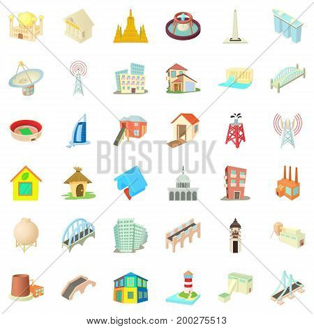 Tall building icons set. Cartoon style of 36 tall building vector icons for web isolated on white background